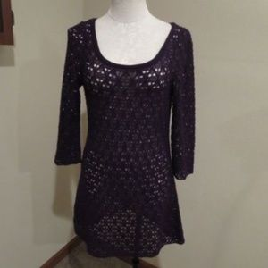 Anthropologie Knitted & Knotted crochet sweater dr